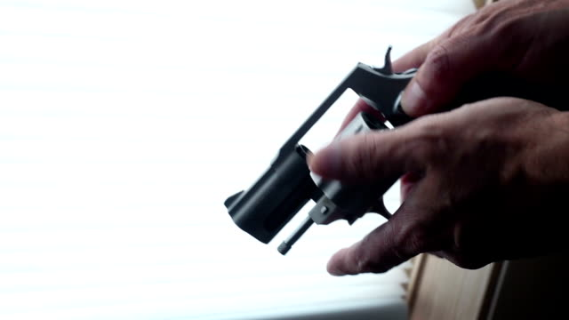 Man makes sure his revolver is unloaded inside video