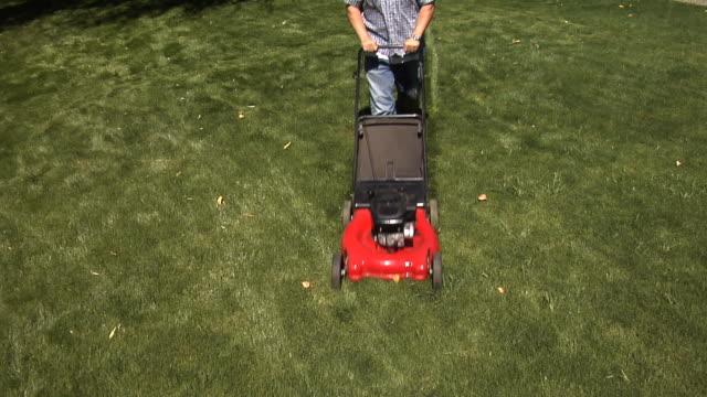 Man mowing lawn video