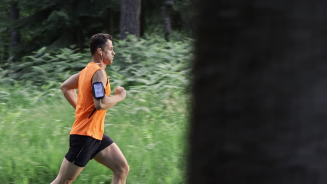 SLO MO DS Man on his daily run through forest
