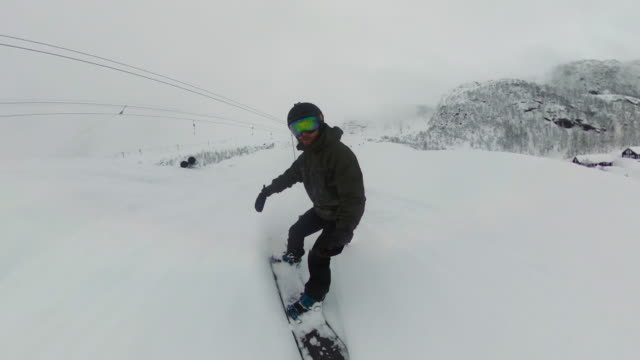 POV Man on the snowboard on a ski slope:winter holidays Man on the snowboard on a ski slope:winter holidays crash helmet stock videos & royalty-free footage