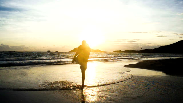 man outdoors having fun on beach early morning man outdoors having fun on beach early morning turks and caicos islands stock videos & royalty-free footage