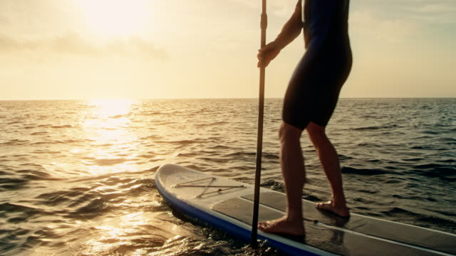 Man paddling on his SUP at sunset video