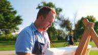 istock Man painting at the Lake shore 1272619706