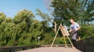 istock Man painting at the Lake shore 1272625532