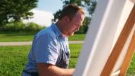 istock Man painting at the Lake shore 1272628219