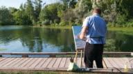 istock Man painting at the Lake shore 1272633496