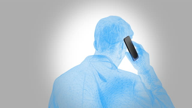 man phones with cell phone - rotation loop detail on a white background