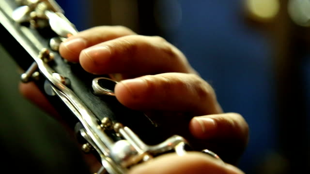 man playing clarinet - orchestra video stock e b–roll