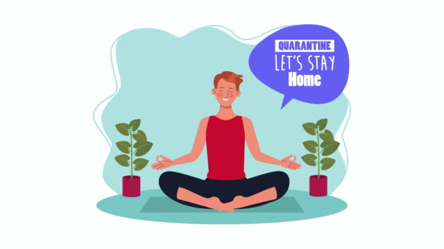 Bидео man practicing yoga in home for covid19 prevention method