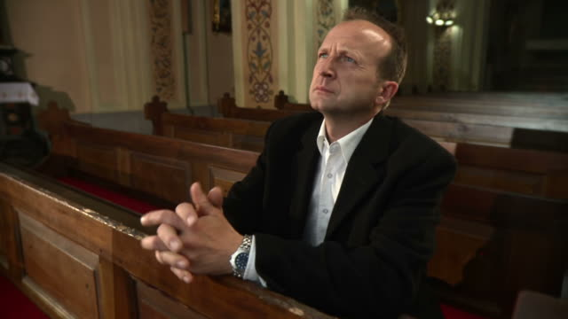 HD: Man Praying In The Church video