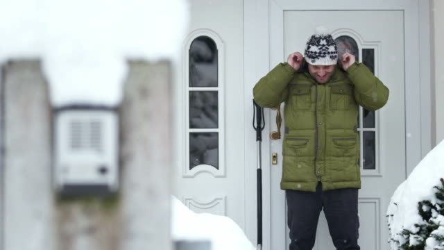 HD: Man Prepares For The Shoveling Snow video