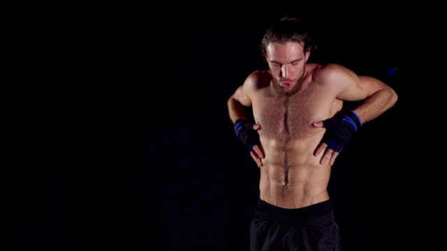 Man presentation about building body.Male body.Handsome Muscular Men video