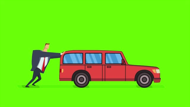 vídeos de stock e filmes b-roll de man pushing forward and running after broken car. flat animation, isolated on green background. - empurrar atividade física
