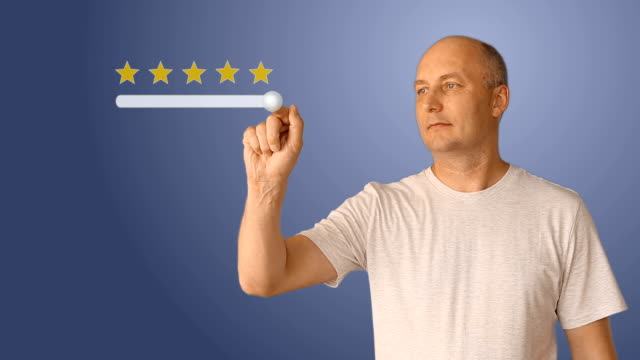 A man puts a rating of 5 stars on a virtual screen. Gradient blue background fill. A conceptual clip for evaluating the service. Services of cafe of restaurants of hotels of banks of retail trade. video