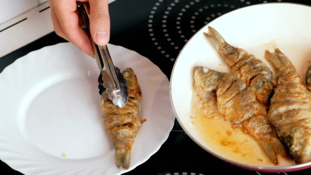 vídeos de stock, filmes e b-roll de homem coloca peixes carpas num prato de frigideira. mãos de close-up do homem com pinça culinária. - comida feita em casa