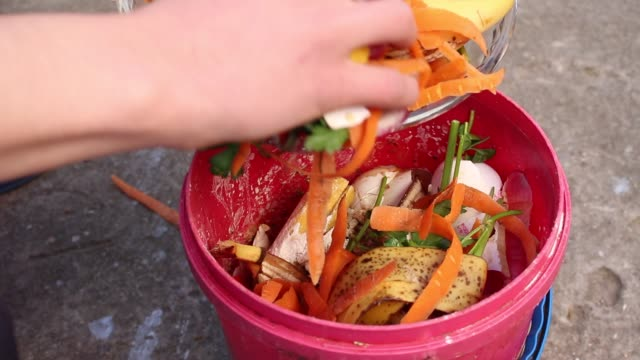 Man putting food waste into Kitchen compost pail Container full of domestic food waste, ready to be composted in the home garden leftovers stock videos & royalty-free footage