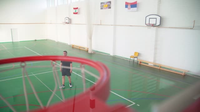 Man Putting The Ball In The Basket video