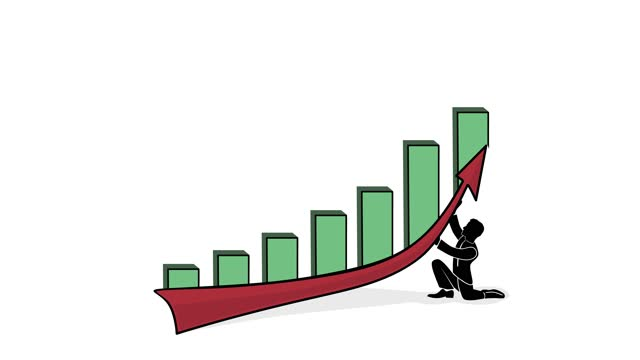 man raises the graph line. profit concept. increase in profitability. 4K video illustration.