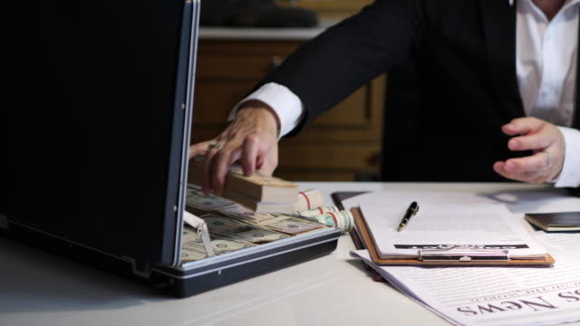 Man receive a lot Money from Trading, Business Success Concept.Business & Finance concept