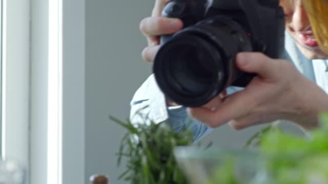 Man Recording Cook Preparing Salad Dressing video