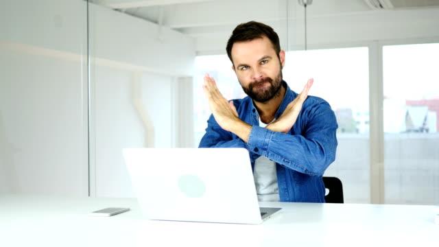 Man Rejecting Offer, Denial Gesture in Office video