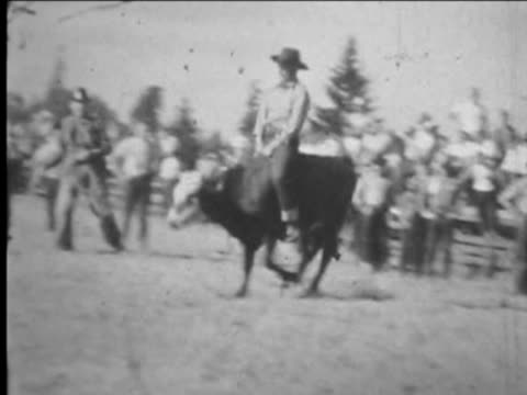 Man rides steer--From 1930's film video