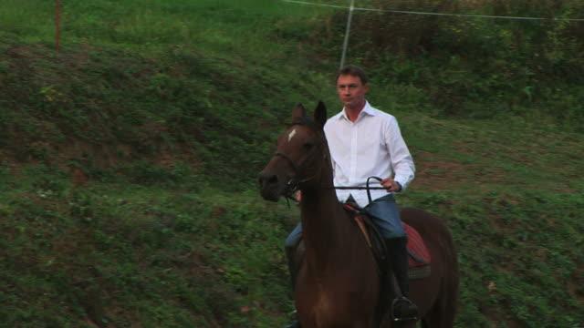 cavallo equitazione uomo in natura - attività equestre ricreativa video stock e b–roll