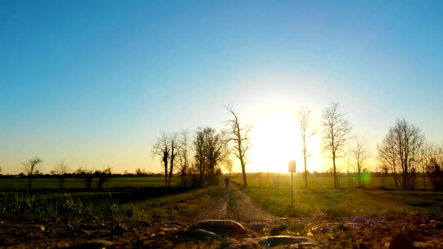 Man running at sunset in country road video