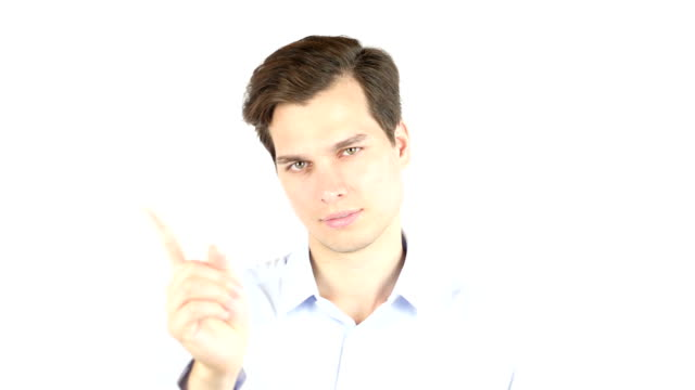 man saying no with his hand on white background - bassino video stock e b–roll