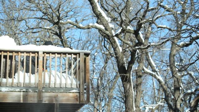 Mann B. Winter Schnee von erhöhter Terrasse – Video