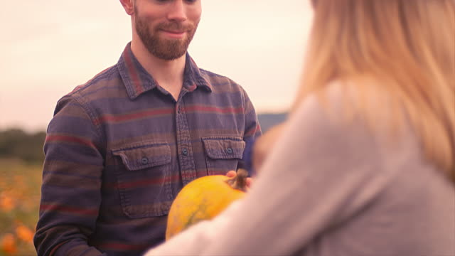 A man showing a pumpkin to his baby girl at the pumpkin patch, and she reaches out to touch it