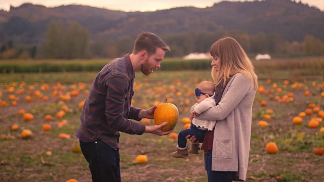 A man showing a pumpkin to his baby girl at the pumpkin patch as her mother holds her