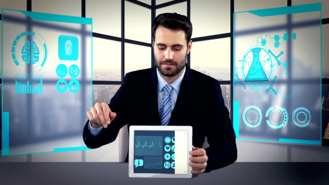 Man showing digitally generated medical icons and graphs on tablet video