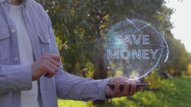 Man shows hologram with text Save money