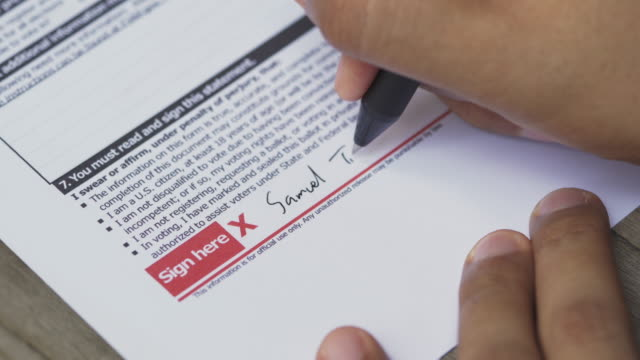 4K Man sign on mail official ballot paper because he get aboard