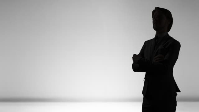 Man Silhouette Businessman Suit, White Person Crossed Arms Stern Look video