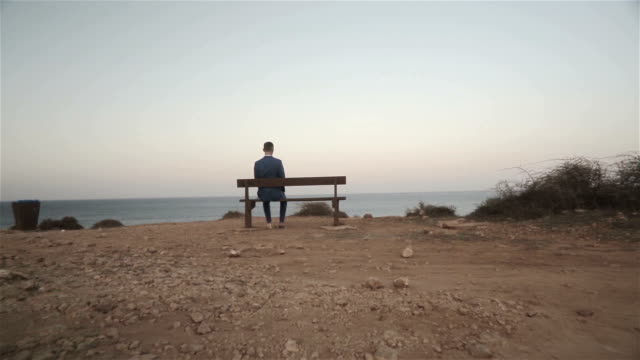 Man Sitting On A Bench Facing The Sea video