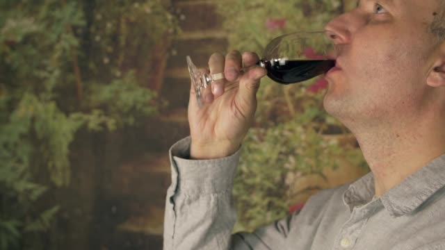 Man sommelier tasting red wine from glass close up. Man drinking red wine video