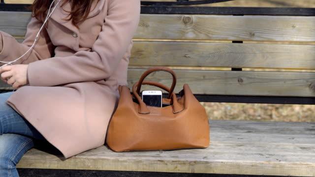 vídeos de stock e filmes b-roll de man steals the phone from a woman's bag in the park - ladrão