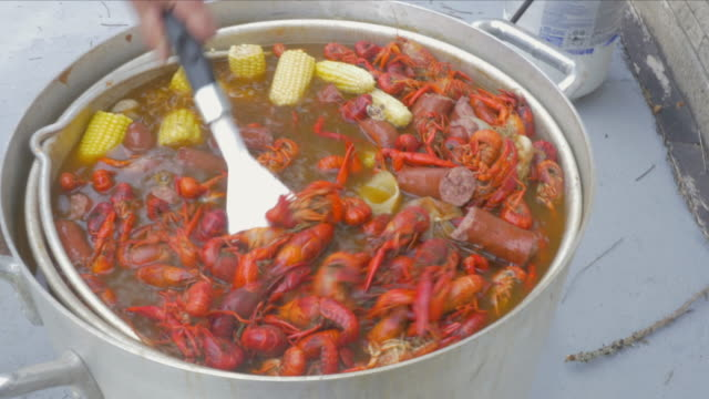 man stirs pot of boiling crawfish with a spatula - bollente video stock e b–roll