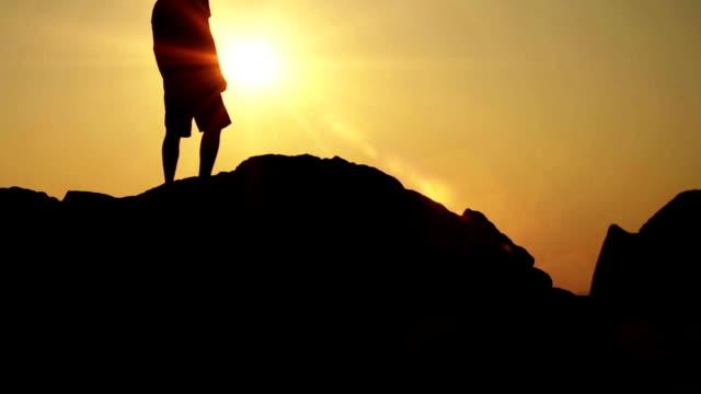 Man Success Top Mountain Sea Ocean Flare Concept HD video
