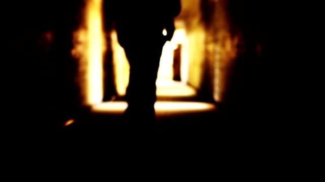 Man Suit Running Toward Shining Light Salvation Freedom Concept video