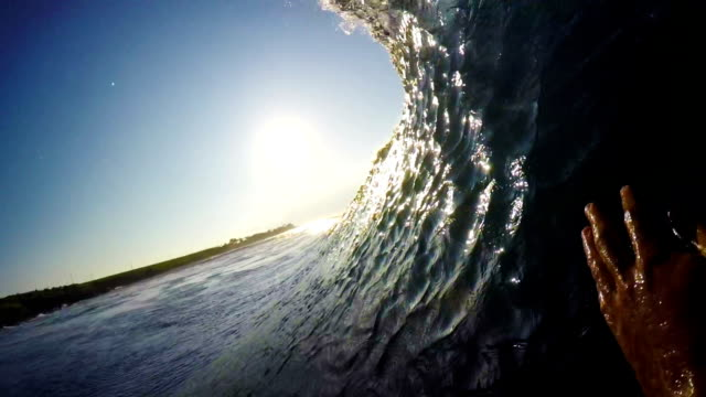 POV Man Surfing Ocean Wave, Extreme Sport HD Slow Motion video