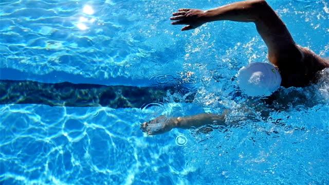 vidéos et rushes de un homme nage libre de natation dans une piscine, ralenti - starting block