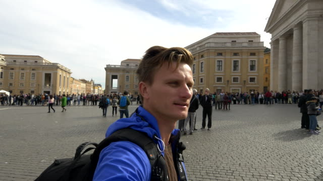 Man taking a selfie on St. Peter's Square in Vatican video