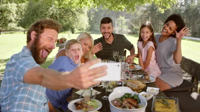 slo mo man taking a selfie with his family at the picnic table - picnic stock videos and b-roll footage