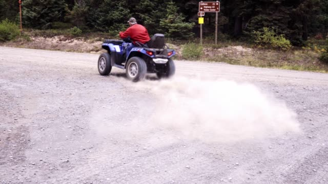 Man Taking Off with a quad, ATV or Four-Wheeler in the Forest Middle-aged man taking off from a stop on a four-wheeler or quad bike macho stock videos & royalty-free footage