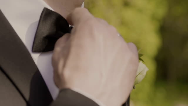 man the groom in a wedding formal costume with butterfly. suit, hands, care, tie, to correct, to adjust, fashion, bow. instagram colors toning - prom fashion stock videos and b-roll footage