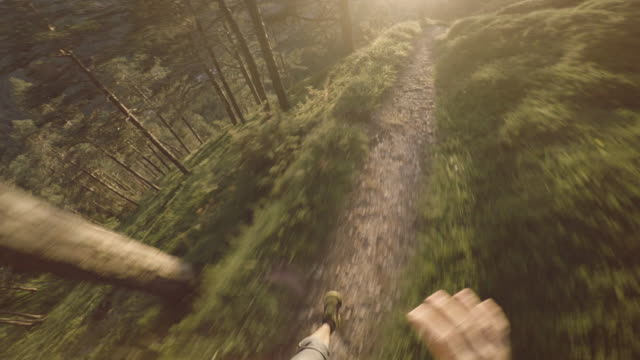 POV Man trail running on mountain: the Dolomites
