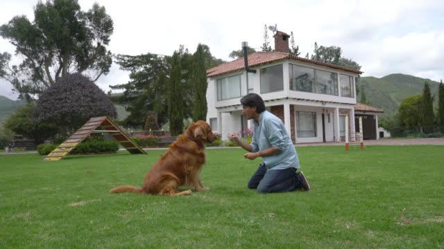 Man training his dog to do tricks video